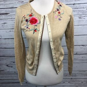 Anthropologie Sparrow XS floral cardigan